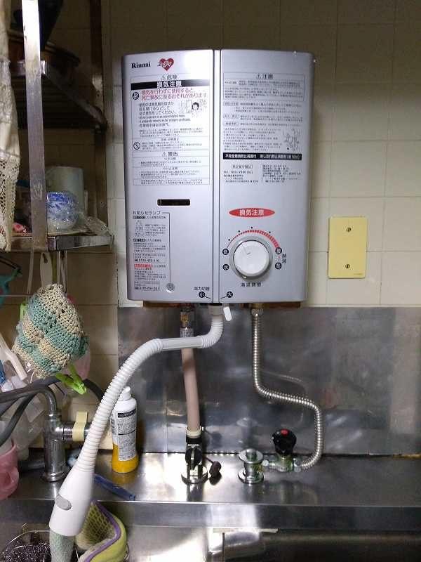 名古屋市北区でリンナイ湯沸器RUS-V51XTシルバーの交換取付工事