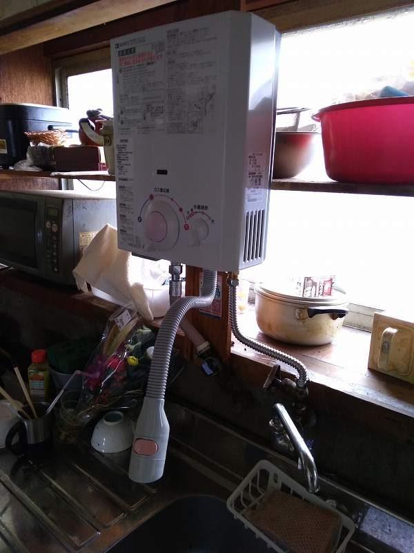 ノーリツの小型瞬間湯沸器GQ-531MWの交換取付工事
